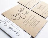 NEW Annabelle Modern Calligraphy Script Recycled Kraft Rustic Wedding Invitation Sample
