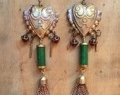 Boho Chandelier Earrings // Handmade Bohemian Jewelry // Heart Hearts // Vintage Copper Tassels // Art Nouveau // Art Deco // Great Gatsby