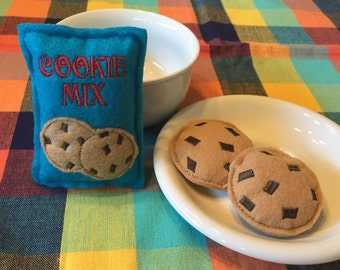Felt Food Cookie Mix Package and 2 Chocolate Chip Cookies