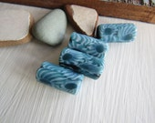 blue tube  glass beads, turquoise  with motif, opaque matte , ethnic pattern millefiori Indonesian beads  12 x 21- 22mm (4 beads)  6bb10-4