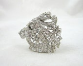 Vintage Rhinestone Dress Clip Crystal Silvertone Restored