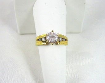 Vintage Rhinestone Ring Crystal Goldtone Large Size