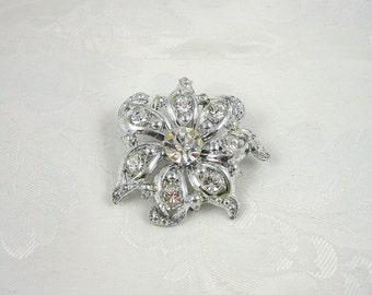 Vintage Flower Brooch Crystal Rhinestone Silvertone