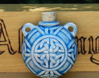 Old World Magick . CELTIC KNOT Raku Potion Bottle for Spell Oils, Incense, Diffuser, Ashes, Pendant