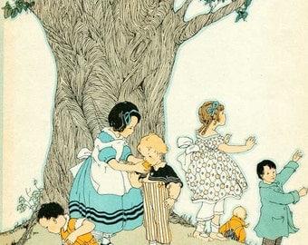 Vintage 1930's Child's Picture Book Illustration, Print for Framing w Children on the Hillside under a Big Gnarled Tree, Nursery Decor