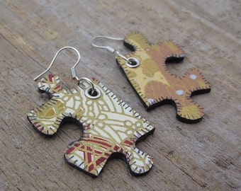 SALE - Jigsaw Puzzle Piece Earrings - Gold and Cream Washi Paper - Boho Upcycled Jewelry