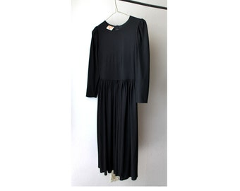 1980's Richard Shops Black Midi Dress