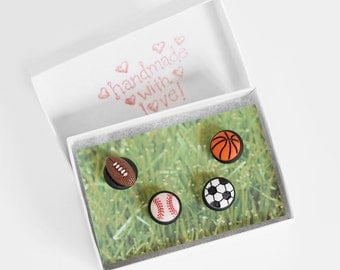 Sports Fan Push Pins. Baseball, Soccer, Basketball, Football Home Office Map Pins in Black Polymer Clay. Unisex Handmade Gift Set of 4