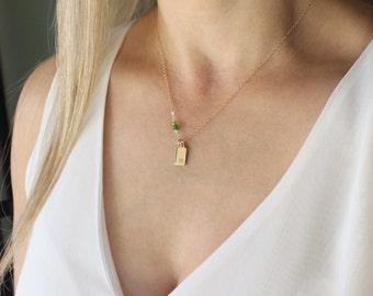 Dainty Initial Necklace w/ Birthstone, Personalized Necklace, Birthstone Necklace, Mothers Necklace, Gift for Wife, Personalized Jewelry
