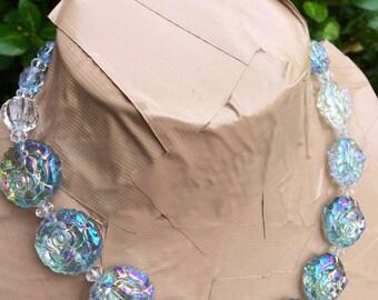 ROSE GARDEN light blue statement necklace