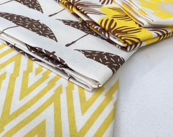 SALE Hand Printed Fabric - Shades of Yellow