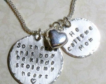 So theres this boy he kinda stole my heart Hand Stamped Sterling Silver Mothers Necklace