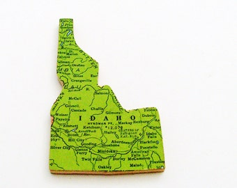 1940s Idaho Brooch - Pin / Unique Wearable History Gift Idea / Upcycled Vintage Wood Jewelry / Timeless Gift Under 25