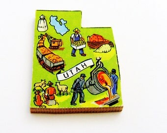 1960s Utah Brooch - Pin / Unique Wearable History Gift Idea / Upcycled Vintage Hand Cut Wood Jewelry / Timeless Gift Under 25