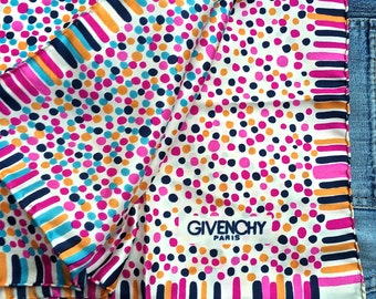 Givenchy silk scarf, large polka dot scarf, stripped hand rolled hems,  Georgeous French scarf,