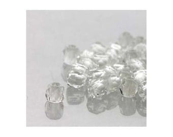 True2 Czech Firepolish Beads 2mm Crystal Clear 18133 (600), Tiny Round Glass Beads, Transparent Beads, Faceted Glass Beads, Precoisa Beads