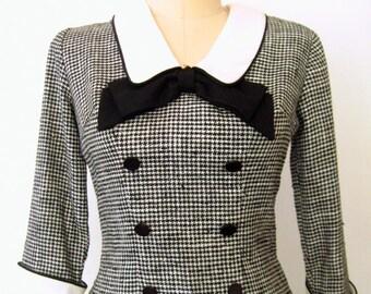 RESERVED for Marilyn...60s Bow Blouse / 1960s Secretary Blouse / Black & White Houndstooth Blouse