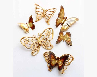Lot (7) Three Tan Butterfly Wall Art Trio HOMCO Home Interiors 7557 + (4) Gold Brown Metal Brass Accent Butterflies 1970s Hanging Wall Art