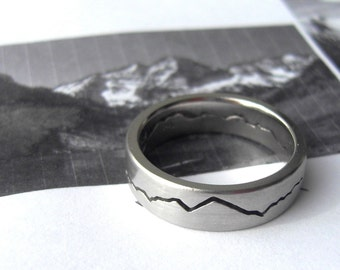 Custom Modern Mountain Ring, 6mm band, Handmade with your choice of recycled Silver, Gold, Palladium or Platinum, Mountain Wedding Band