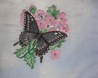 Butterfly Potholders, machine embroidered