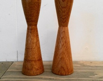 Vintage Danish Modern Style Oak Wood Tapered Candleholders