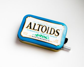 Portable Mint Tin Guitar Amp, Headphone Amp, MP3 Amp w/ Speaker, Volume Control, & 10X Gain (Wintergreen Altoids)