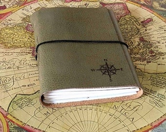 explorer journal with maps a travel journal - sage faux leather vacation journal