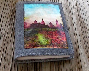 SALE Philly Journal - distressed gray waxed canvas cover journal original art journal