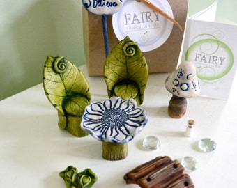 Fairy Garden Kit, Fairy furniture, Leaf chair and Flower table set: 11 items cast marble stone for Miniature garden