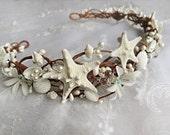 seashell crown, seashell headband, starfish hair accessories, bridal hairpiece with crystals, beach wedding headpiece, starfish crown
