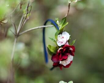 flower girl headband, navy wedding, girls headband, fall wedding hair accessories, autumn wedding, bridesmaid hair piece, marsala wedding