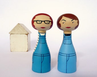 Custom lesbian couple portrait same sex Cake Topper Personalized FREE SHIPPING Wooden art doll hand painted blue teal aqua