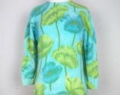 Vintage Darlene Sweater Aqua Blue Green Floral Angora Wool Blend M L