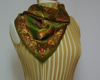 Vintage fall and winter scarf Gold green red damask print Square scarf 1970s 70s acetate scarf