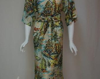 Vintage 60s boat neck dress Nylon jersey shift dress Novelty print pullover dress