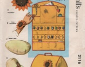1950s McCall's 2116 UNCUT Vintage Craft Pattern Sewing Room Accessories Tailor's Ham, Pincushion, Pressing Mitt, Sewing Machine Slip Cover