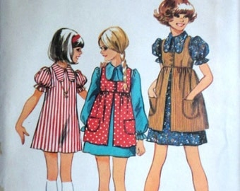 Vintage 70's Simplicity 5280 Sewing Pattern, Girls' Dress And Smock, Size 14, 32 Breast, Retro 1970's Fashion, Uncut FF
