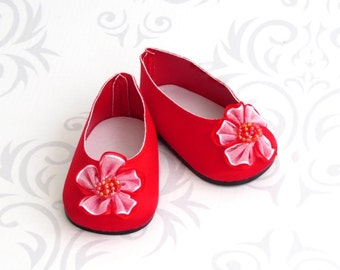 Red Doll Shoes, Satin Ballet Flats fit American Girl Doll, Valentine Shoes, Red Dress Shoes