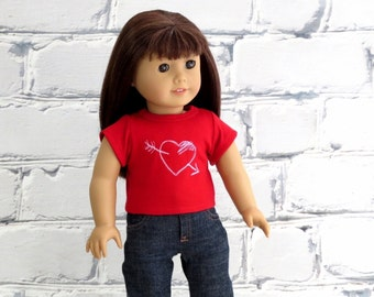 Valentine's Day Red Heart T Shirt fits 18 inch Doll