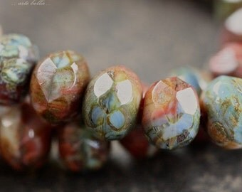 SUNSET No. 2 .. 10 Premium Picasso Czech Glass Rondelle Beads 6x8-9mm (4215-10)