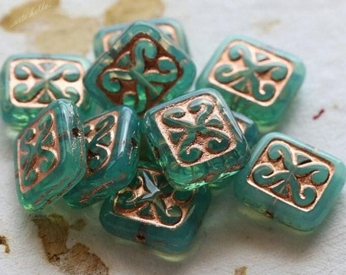 BLUE OPAL TRIX .. 10 Picasso Czech Glass Rectangle Beads 12x10mm (4692-10)