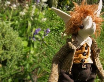The Hare, a  British Spring Art Doll. Pagan natural fibre, ooak.
