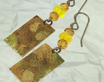 Golds and Browns Painted Earrings