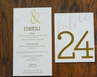 Modern Blush Pink and Gold Table Numbers - Martha and Eric