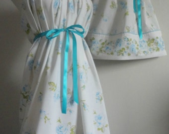 Mommy and Me Matching. Mother Daughter Clothing. Mommy and Me Matching Dresses. Matching Summer Dresses. Blue Rose Dress. Matching Dresses