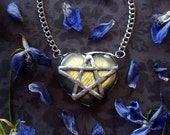 Labradorite Necklace - Labradorite Heart Pendant with Silver Chain - Star Pentacle Heart Necklace - Labradorite Crystal Necklace