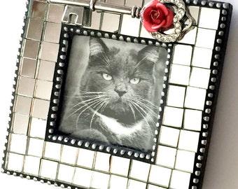 Mosaic Mirror Frame, Rosebud Key Mosaic Picture Frame, Mini Mosaic Mirror Frame, Shiny Silver Pink Rosebud Frame with Key, Rosebud Frame