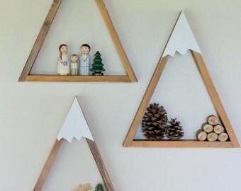 SET OF 3- Woodland Nursery Mountain Shelf Room Decor Snow Peak Mountain Forest Reclaimed Wood Triangle Geometric