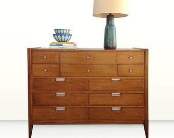 Free Shipping Mid Century Modern 12 Drawer Wide Highboy Dresser