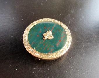 Antique 14K Gold BLOODSTONE Maple Leaf PIN/PENDANT c. 1860
